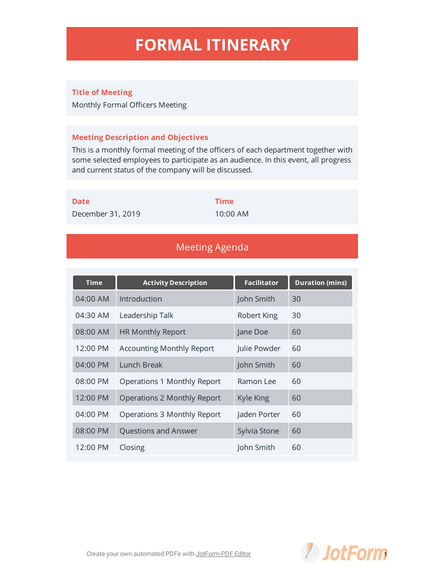 Formal Itinerary Template