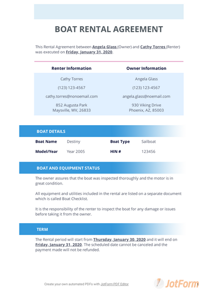 Boat Rental Agreement