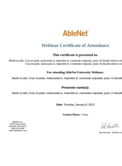 AbleNet University Cert of Attendance