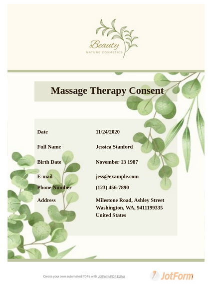 Massage Therapy Consent