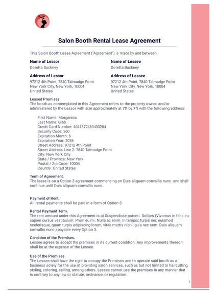 Salon Booth Rental Lease Agreement