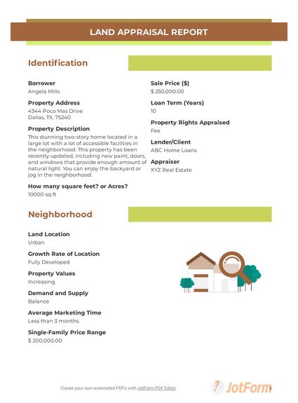 Land Appraisal Report Template