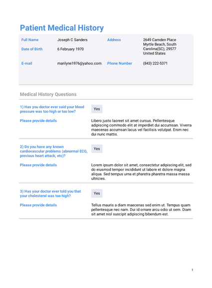 Professional Medical History Template