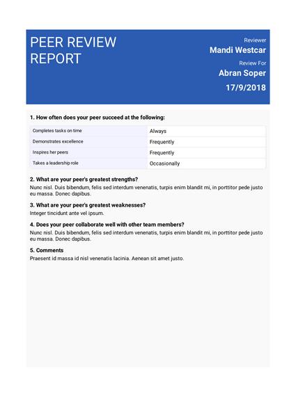 Peer Review Report Template