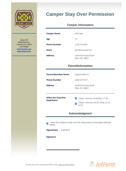 Camper Stay Over Permission Template