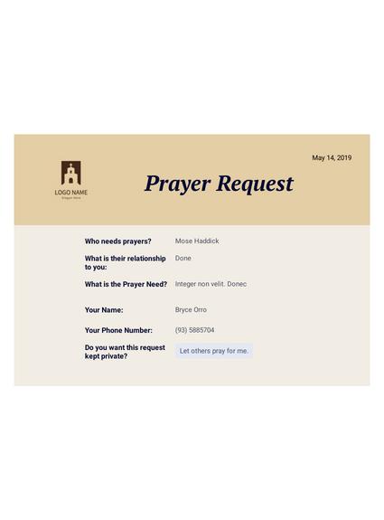 Prayer Request PDF Template