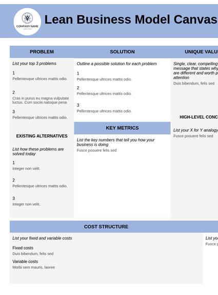 Lean Business Model Canvas Template