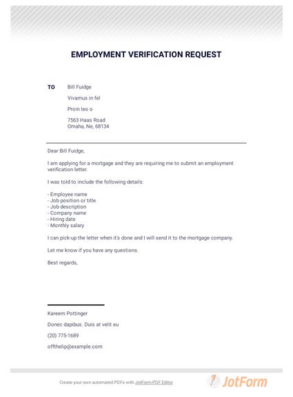 Employment Verification Request - PDF Templates   JotForm